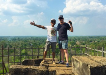 """Koh Ker, Koh Ker temple,  the old capital city of Khmer Empire know as """"the glance city"""", dedicated to Shiva Hindu god, top view of Koh Ker temple, the lonely jungle temple, Cambodia."""